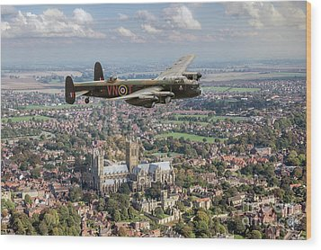 Wood Print featuring the photograph City Of Lincoln Vn-t Over The City Of Lincoln by Gary Eason