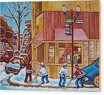 City Of Montreal St. Urbain And Mont Royal Beautys With Hockey Wood Print by Carole Spandau