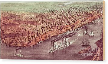 City Of New Orleans Wood Print by Currier and Ives
