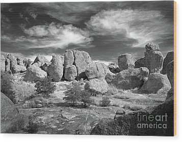 Wood Print featuring the photograph City Of Rocks And Sky by Martin Konopacki