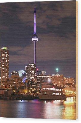 City Of Toronto At Night Wood Print by Oleksiy Maksymenko