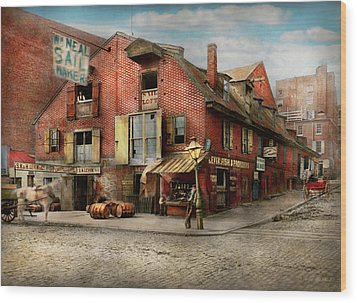 Wood Print featuring the photograph City - Pa - Fish And Provisions 1898 by Mike Savad