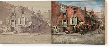 Wood Print featuring the photograph City - Pa - Fish And Provisions 1898 - Side By Side by Mike Savad