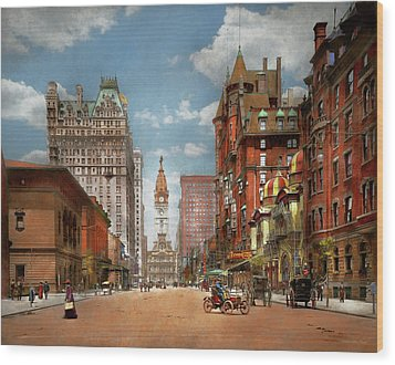 Wood Print featuring the photograph City - Pa Philadelphia - Broad Street 1905 by Mike Savad
