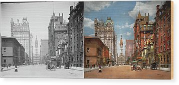 Wood Print featuring the photograph City - Pa Philadelphia - Broad Street 1905 - Side By Side by Mike Savad