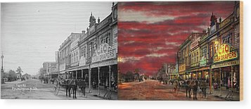 Wood Print featuring the photograph City - Palmerston North Nz - The Shopping District 1908 - Side By Side by Mike Savad