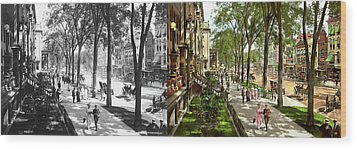 Wood Print featuring the photograph City - Saratoga Ny -  I Would Love To Be On Broadway 1915 - Side By Side by Mike Savad