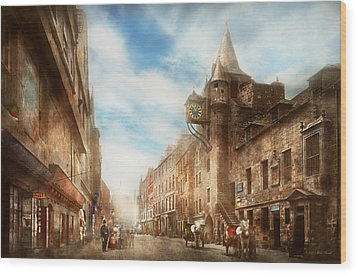 Wood Print featuring the photograph City - Scotland - Tolbooth Operator 1865 by Mike Savad