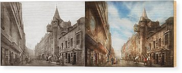 Wood Print featuring the photograph City - Scotland - Tolbooth Operator 1865 - Side By Side by Mike Savad