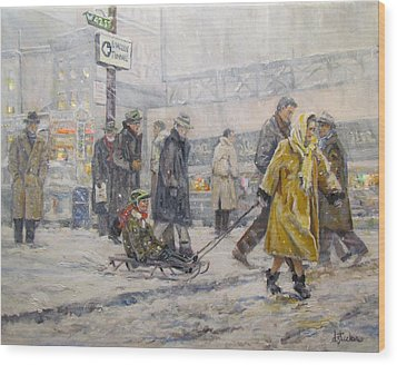 Wood Print featuring the painting City Snow Ride by Donna Tucker