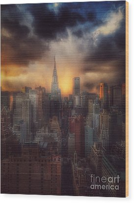 City Splendor - Sunset In New York Wood Print