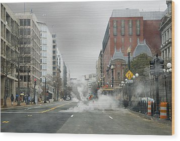 Wood Print featuring the photograph City Street On A Rainy Day by Francesa Miller