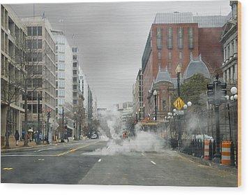 City Street On A Rainy Day Wood Print by Francesa Miller