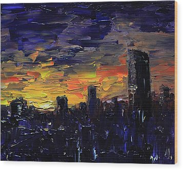 City Sunset Wood Print