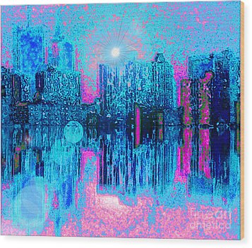 City Twilight Wood Print by Holly Martinson