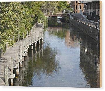 City Waterway Wood Print by Tara Lynn