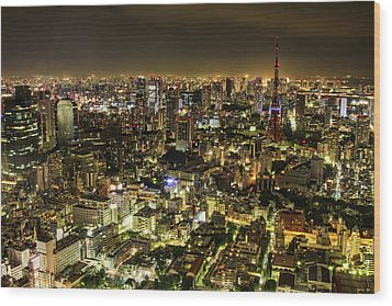 Cityscape At Night Wood Print by Agustin Rafael C. Reyes