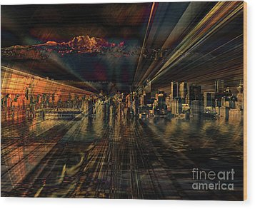 Cityscape Wood Print by Elaine Hunter