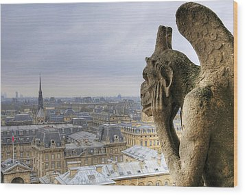 Cityscape From Notre Dame, Paris Wood Print by Zens photo