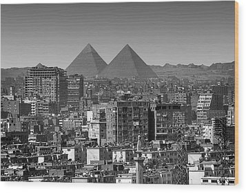 Cityscape Of Cairo, Pyramids, Egypt Wood Print by Anik Messier