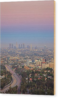 Cityscape Of Los Angeles Wood Print by Eric Lo