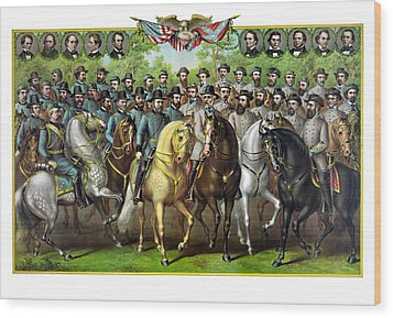 Civil War Generals And Statesman Wood Print by War Is Hell Store