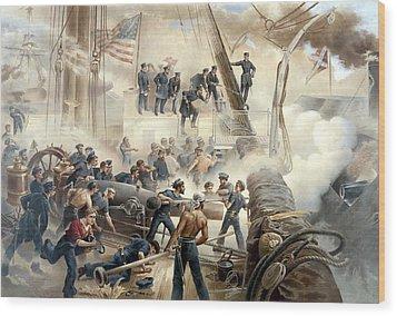 Civil War Naval Battle Wood Print by War Is Hell Store
