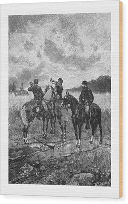 Civil War Soldiers On Horseback Wood Print by War Is Hell Store