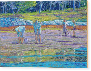 Clam Diggers Wood Print
