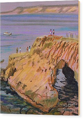 Clam Rock Evening Wood Print by Donald Maier