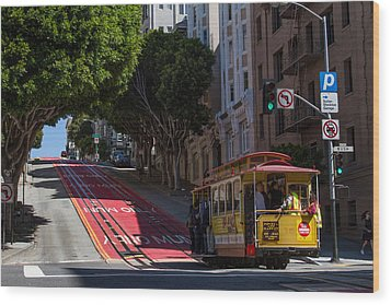 Clang Clang Goes The Cable Car Wood Print