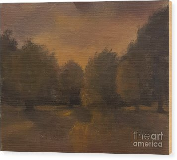 Clapham Common At Dusk Wood Print
