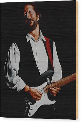 Clapton With Red Strap Wood Print by Richard Klingbeil