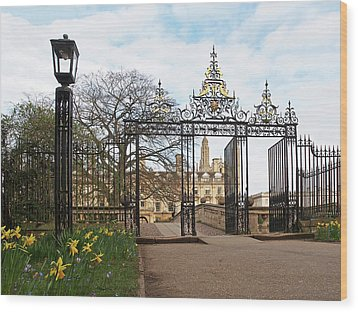 Wood Print featuring the photograph Clare College Gate Cambridge by Gill Billington