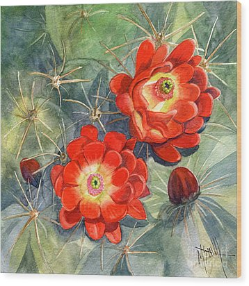 Claret Cup Cactus Wood Print by Marilyn Smith