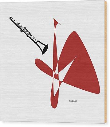 Clarinet In Orange Red Wood Print by David Bridburg