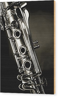 Clarinet Isolated In Black And White Wood Print by M K  Miller