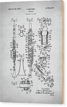 Wood Print featuring the digital art Clarinet Patent by Taylan Apukovska