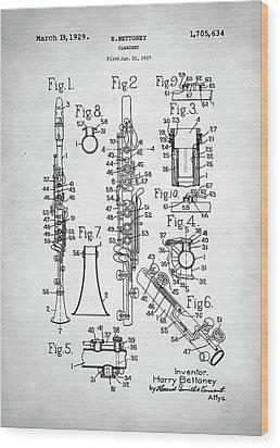 Clarinet Patent Wood Print by Taylan Apukovska