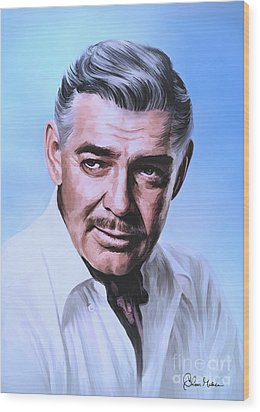Wood Print featuring the painting  Clark Gable 2 by Andrzej Szczerski