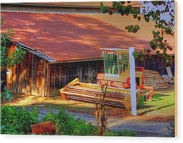 Clarkburg Combine Wood Print by Randy Wehner Photography