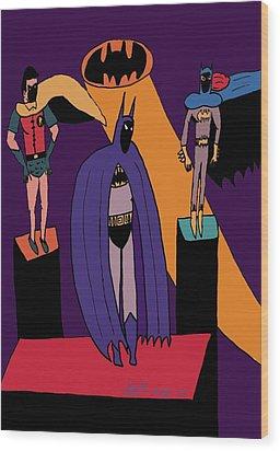 Classic Batman, Robin And Batgirl Wood Print by John Lavernoich