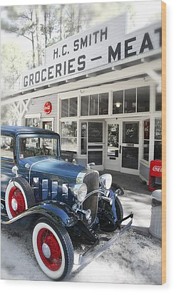 Classic Chevrolet Automobile Parked Outside The Store Wood Print by Mal Bray