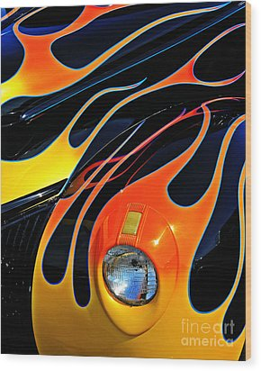 Classic Flames Wood Print by Perry Webster