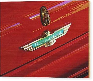 Classic Ford Thunderbird Emblem Wood Print