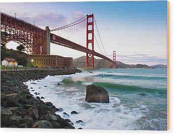 Classic Golden Gate Bridge Wood Print by Photo by Alex Zyuzikov