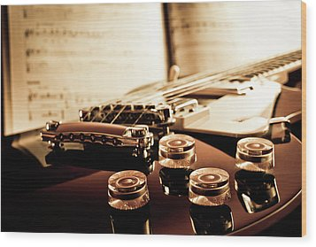 Classic Guitar Still Life With Notes Wood Print by A Driempixel Photo