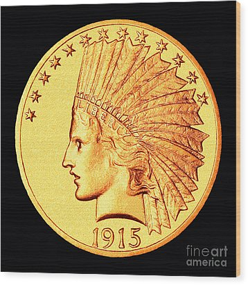 Classic Indian Head Gold Wood Print by Jim Carrell