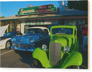 Wood Print featuring the photograph Classic Lime Green Car In Front Of The Sycamore by Polly Castor