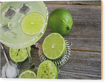 Wood Print featuring the photograph Classic Lime Margarita by Teri Virbickis